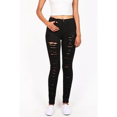 Pink Ice Torn Avalanche High Waist Skinny Jeans (170 BRL) ❤ liked on Polyvore featuring jeans, black, destroyed jeans, high rise jeans, high-waisted jeans, destroyed skinny jeans and destructed skinny jeans