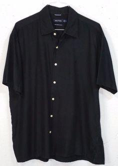 Nautica Easy Care Silk Blend Mens Black Short Sleeve Button Down Shirt XL #Nautica #ButtonFront