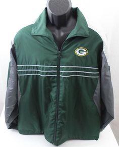 Green-Bay-Packers-Windbreaker-Football-Jacket-NFL-Team-Apparel-SizeXL-NICE #NFL #Windbreaker