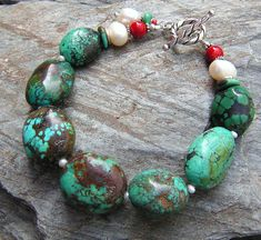 natural turquoise, pearls, coral
