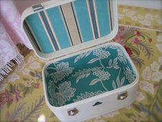 Vintage Luggage DIY- sew cloth to cardboard pattern made from old parts