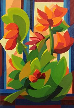 'Tropical Flowers' (2013) - Original Cubist Floral Painting from Brazil