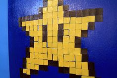 8-BIT ART. Mario STAR mixed media painting.. $15.00, via Etsy.