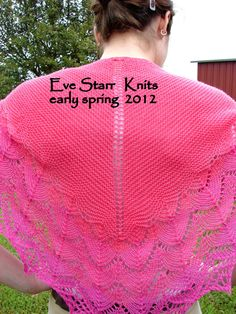 A STUDY in PINK  Shawlette a WhisperSoft by EveStarrFiberArts,  $199.  Long wings make this stay in place, even unfastened.  Hot pink blends seamlessly into coral.  Horseshoe lace finishes off this folk shawl with a modern colorway.