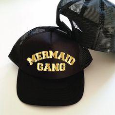 bc7ef42aedc Mermaid Gang Trucker Cap. Funny Mermaid Hat. Mermaid by SoPinkUK Mermaid Hat