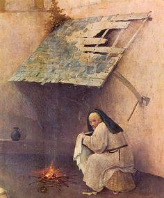 """San José, esperancista hombre de trono,  lava pañales en """"La adoración de los magos"""" de El Bosco"""