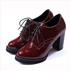 De couro sintético Mulheres Chunky Salto salto Oxfords Sapatos com Lace-up (mais cores) – USD $ 27.99