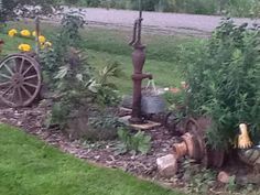 Fountain made out of old hand pump.   I would like to do something like this.
