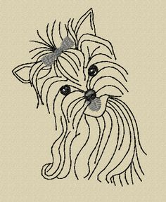 Yorkie Embroidery Design File  Redwork by DigitalHorses on Etsy, $25.00
