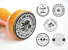 Collection de tampons encreurs personnalisables pour votre mariage ! Stamps collection for wedding ! Rendez-vous sur http://bit.ly/PYL-tampons
