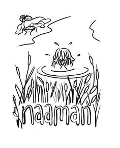 Color Naaman washing himself in the Jordan river. Free Coloring Sheets, Sunday School, River, Rivers