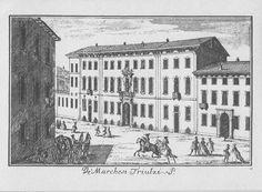 """Palazzo Trivulzio, piazza S. Alessandro, Milano. Marc'Antonio Dal Re, """"Vedute di Milano"""", incisione 40 (ca. 1745)."""