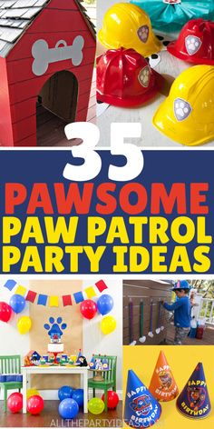 Mighty fun PAW PATROL BIRTHDAY PARTY IDEAS for food, decorations, games, and favors to DIY on a budget. Cheap, easy boy and girly activities and set up to keep the pup gang theme featuring Chase, Skye, Marshall, Rubble, Rocky, Everest, Zuma, and Ryder. Includes invites and invitations, ideas for foods, drinks, and snacks with decoration for the table and centerpieces, cake, cupcakes, cookies and desserts and much more. Free printables too! #pawpatrolparty #birthdaypartyideas #partyideas