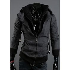 $26.60 Korean Faux Twinset Zipper Embellished Long Sleeves Polyester Hoodies For Men
