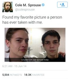 Cole Sprouse is real and he is out there