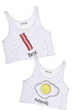 Bacon & Egg Best Friends Crop Tank Tops | Yotta Kilo @Marina Hansen
