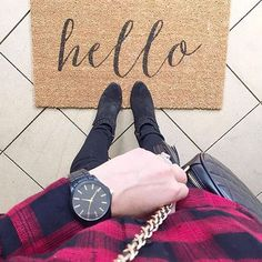 HELLO Weekend. Accessorizing our weekend in our Red Patches Flannel and Black Modera Watch ⌚️ {Shop this watch in Bio} (📷 @styledbykasey)  #watch   #hello   #ootd   #weekend