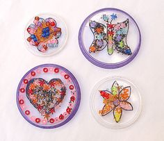 DIY Bead Mosaics from Recycled Clear Plastic Lids!    What a cute and creative idea!