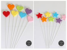 Gum Paste Heart And Stars On Wires Cake Toppers : Design @ 409
