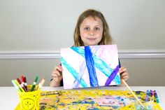 Watercolor with Markers - Daphne Holding Up Her Finished Artwork Older Kids Crafts, Watercolor Effects, Marker Art, Art Techniques, Markers, Learning, Drawings, Artwork, Magic