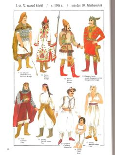 Hungarian Embroidery Century Magyar from Hungarian Costume by Elizabeth Ek. Questionable documentation but good overview. Historical Costume, Historical Clothing, Military Costumes, Hungarian Embroidery, Early Middle Ages, Tribal People, Medieval Armor, Period Outfit, Viking Age