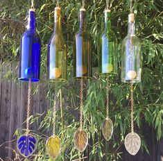 This Wine Bottle Windchime is just one of the custom, handmade pieces you'll find in our wind chimes shops. Wine Bottle Art, Glass Bottle Crafts, Diy Bottle, Wine Bottles, Cut Bottles, Gemüseanbau In Kübeln, Empty Glass Bottles, Diy Wind Chimes, Bottle Cutting