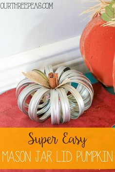 Take some unused materials and turn them into this adorable and super easy mason jar lid pumpkin!