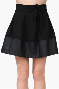 Lucy Leather Look Trim Skirt in Black