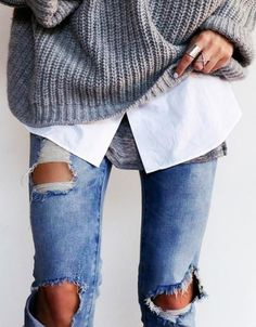 RIPPED DENIM AND CHUNKY KNIT <3