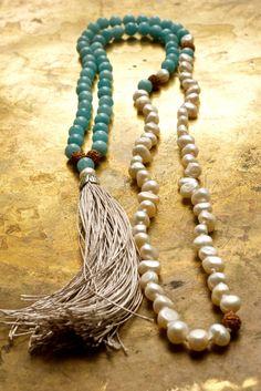 Collar borla Collar de Bohemia Mala aguamarina por ThePillowBook