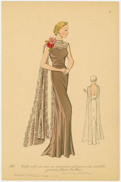 Cette robe du soir en marocain est garnie de dentelle, grandes fleurs bicolore. (1937)