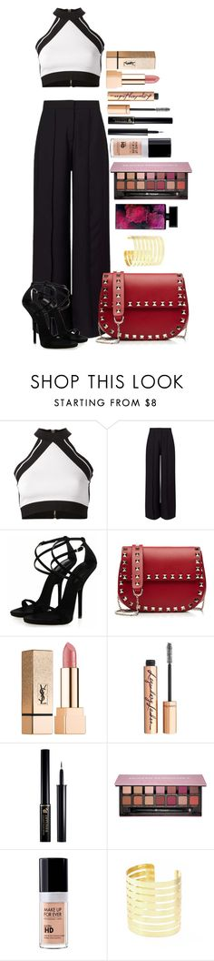 """Untitled #1572"" by fabianarveloc on Polyvore featuring Balmain, Miss Selfridge, Valentino, Yves Saint Laurent, Charlotte Tilbury, Lancôme, Anastasia Beverly Hills, MAKE UP FOR EVER and Elizabeth Arden"