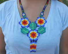 Beautiful Blue Floral Flower Beaded Huichol Necklace and Earrings Beaded Flowers, Floral Flowers, Crochet Necklace, Beaded Necklace, Mexican Designs, Peyote Patterns, Beading Tutorials, Beautiful Outfits, Seed Beads