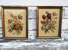 Antique Lithograph prints Hand Colored Flowers