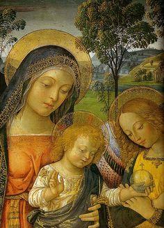 File:Pinturicchio, madonna della pace, 1490 circa. 143x70 cm, sanseverino marche, pinacoteca civica, dettaglio.jpgMadonna della Pace (detay, 1490)