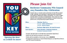Logo/Invite/Ticket/Program design for the 2013 Rochester Community PTA Council Founders Day.