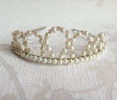 Pearl & Crystal Crown Style Tiara - Bridal Tiara - Pearl Tiara - Handmade Wedding on Etsy, £30.00