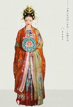 Tang dynasty hanfu by 菩提雪传统服饰 Traditional Fashion, Traditional Dresses, Traditional Chinese, Hanfu, Historical Costume, Historical Clothing, Old Dresses, Asian Fashion, Chinese Fashion