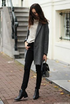 oversized sweater, grey coat, highwaisted black jeans, ripped knee jeans