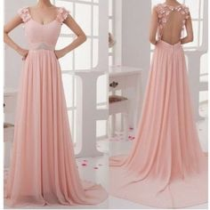 Charming Pink Sweep Train Lace Backless Prom Dresses