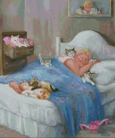 Cats in Art and Illustration: Dianne Dengel Crazy Cat Lady, Crazy Cats, All About Cats, Here Kitty Kitty, Whimsical Art, Cute Illustration, Beautiful Cats, I Love Cats, Cat Art