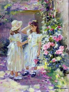 Alexander Averin - Two girls playing with roses
