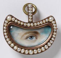 1800-20 ca.  Lover's Eye Brooch, England. Gold, pearls, diamonds and painted miniature.  vam.ac.uk                                                         suzilove.com