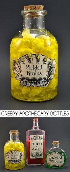These creepy apothecary potions and witchery are perfect Halloween decor! Printable Halloween Apothecary Labels.