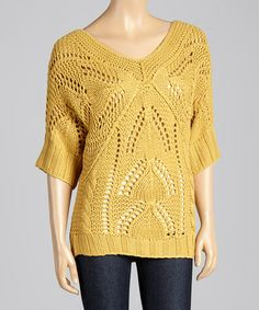 Look at this #zulilyfind! Mustard Cable-Knit Dolman Sweater by Andrée #zulilyfinds