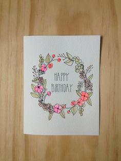 birthday card floral cards google wreath drawing simple drawn hand calligraphy pretty handmade bday tattoo hartlandbrooklyn afkomstig van sold