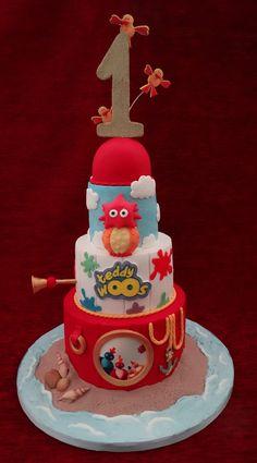 Twirlywoos 1st Birthday Seaside Beach Celebration Cake