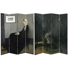 Two of James Abbott McNeill Whistler's most famous works together on one lightweight portable room divider screen. One side features Arrangement in Grey and Black No.1, better know as Whistler's Mother. The other side features one of Whistler's more controversial works, Nocturne in Black and Gold: The Falling Rocket, which inspired him to write a book entitled, The Gentle Art of Making Enemies.