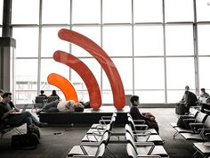 This structure advertises the airport's free wi-fi and even mimics a wi-fi signal with bars that light up. Found in Toronto's Pearson airport