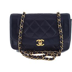"""Pre-Owned Chanel Black Vintage Quilted Classic """"""""Diana"""""""" Shoulder Flap... ($2,399) ❤ liked on Polyvore featuring bags, handbags, black, vintage purses, vintage cross body purse, chain strap purse, crossbody purses and long strap handbags"""